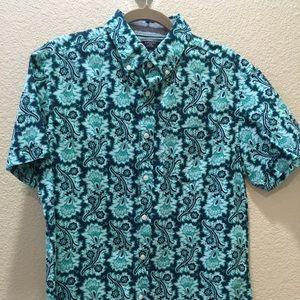 Men's blue and teal shirt sleeve shirt